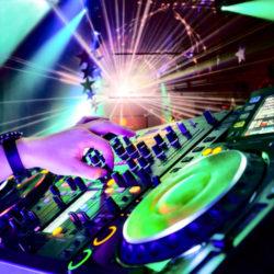 DJ hands on a Mixer