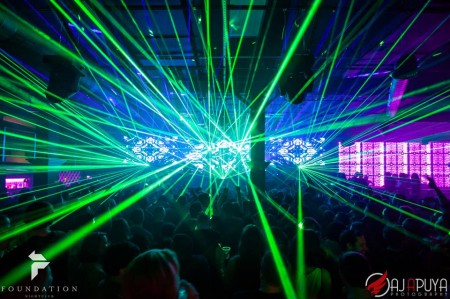 Inside Foundation Nightclub with special lasers
