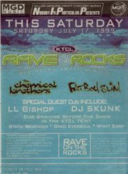 Original flyer for Rave on the Rocks in 1999, which was later rebranded Global Dance Festival.