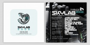 Front and back of the original flyer for Skylab 2006, which was made by The Firm, Steve Blakley's graphic design business.
